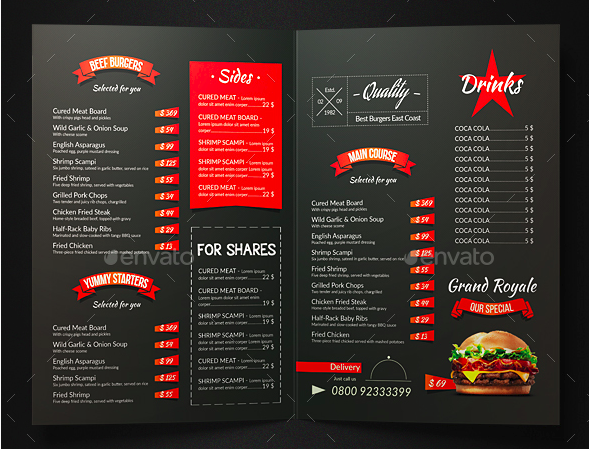 grill bbq bifold food menu
