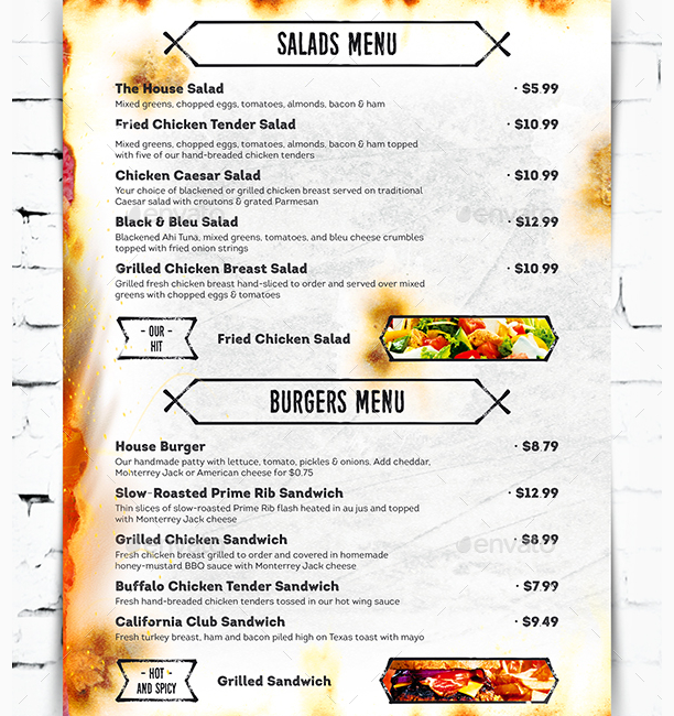grill bar menu template