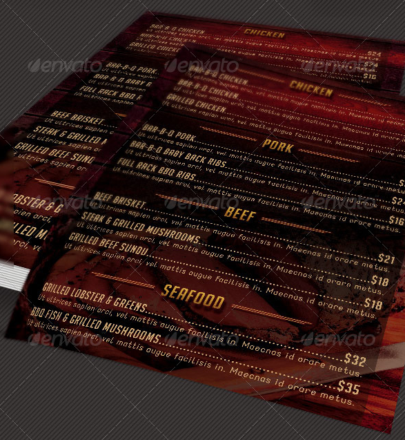 grill barbecue restaurant menu template