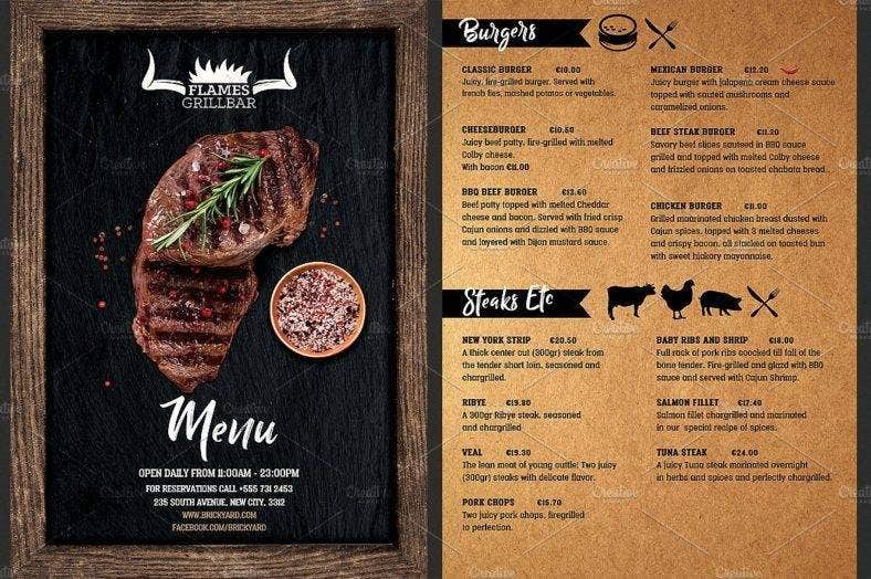 grill restaurant menu flyer template 788x524