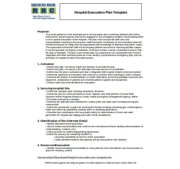 hospital evacuation plan template