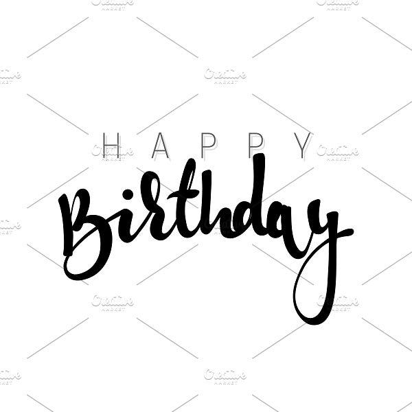 Happy Birthday Calligraphic Template