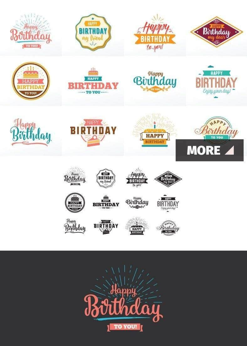 Happy Birthday Typographic Set