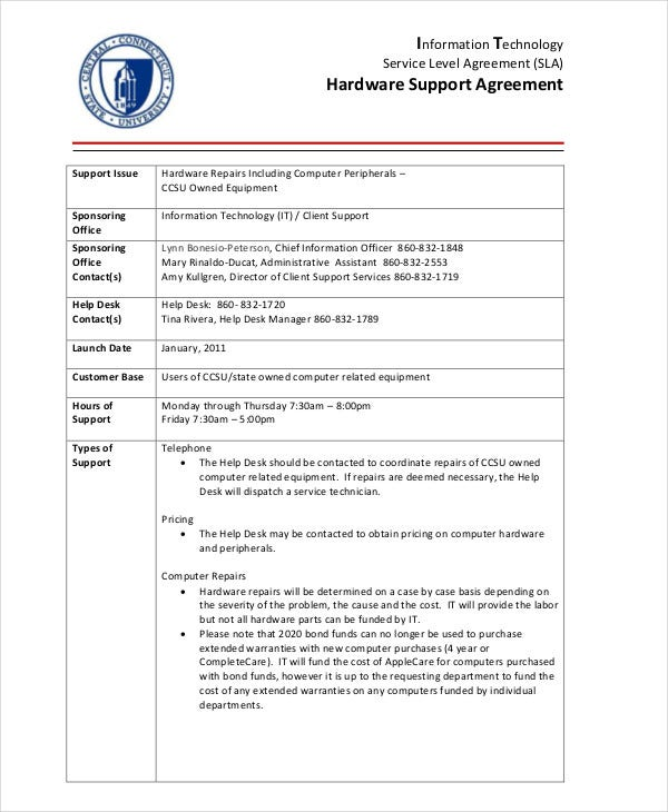 Hardware Support Agreement