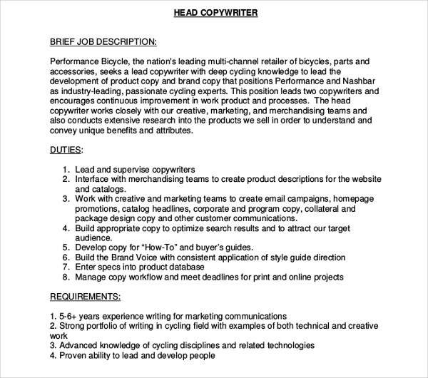 head copywriter job description