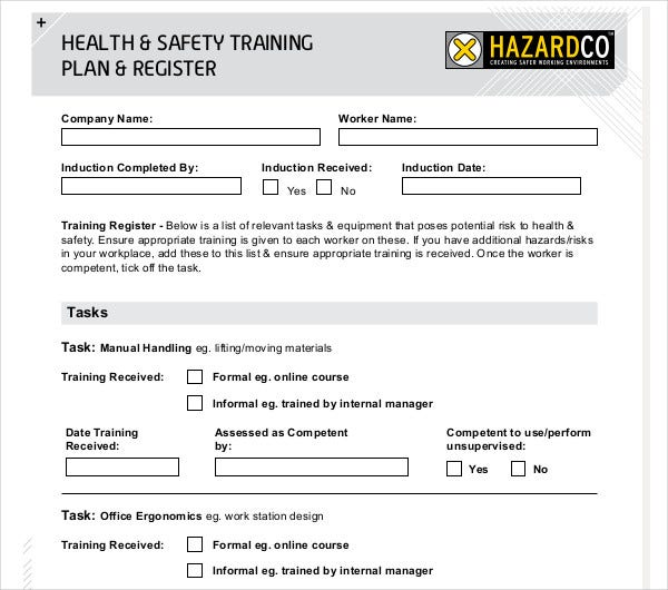 health safety training plan