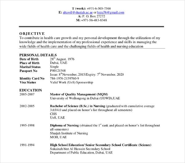 healthcare service curriculum vitae