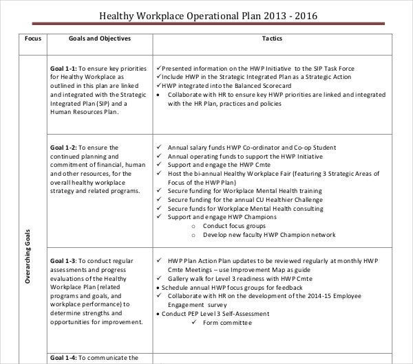 healthy workplace operational plan
