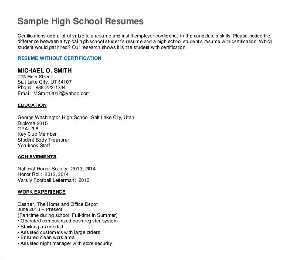10+ High School Graduate Resume Templates - PDF, DOC | Free ...