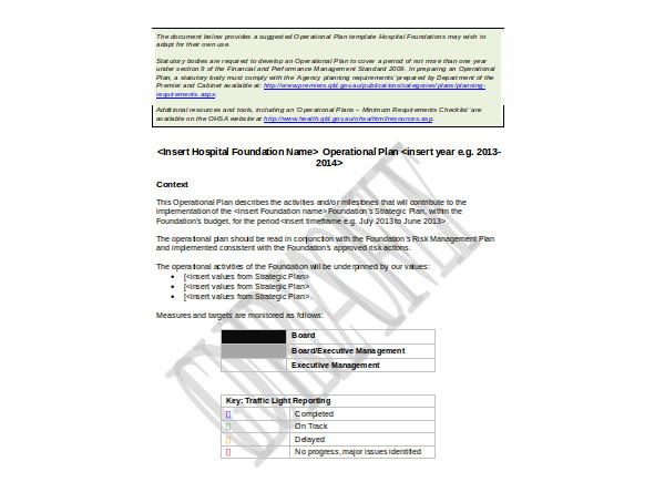 hospital foundation operational plan