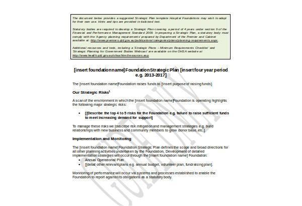 hospital foundation strategic plan template