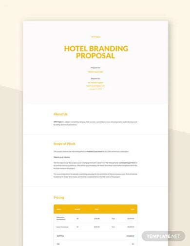 hotel branding proposal template