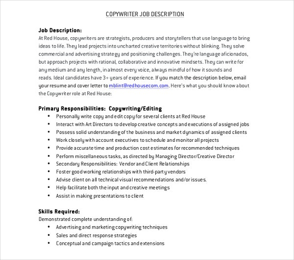 house communication copywriter job description
