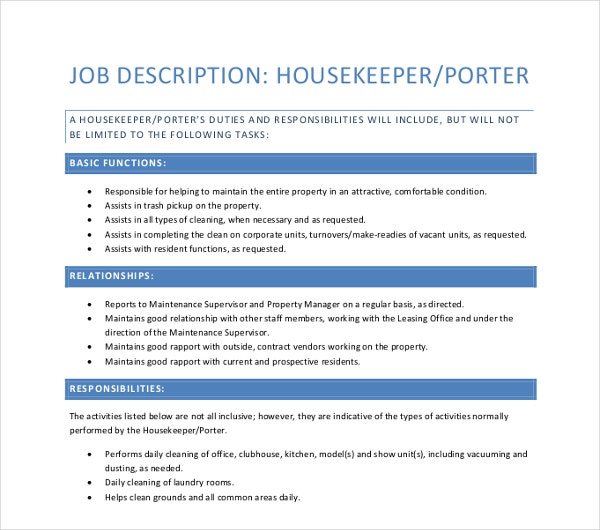 housekeeper porter job description