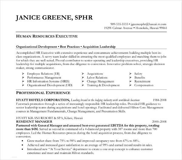 human resource director executive resume