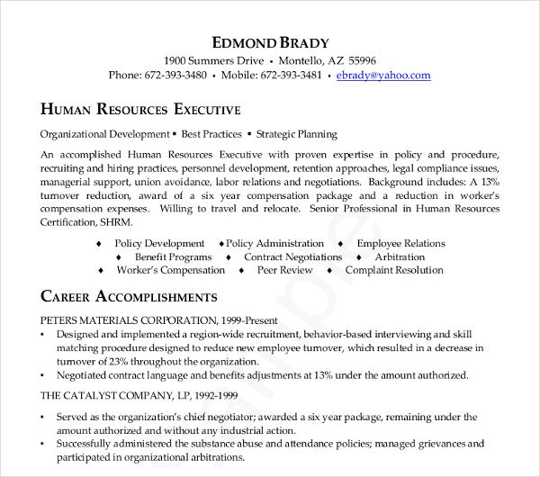 human resource executive resume