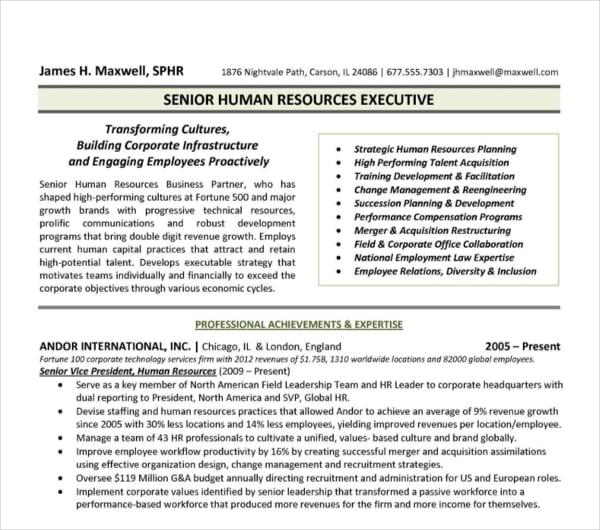 17+ FREE HR Resume Templates - PDF, DOC