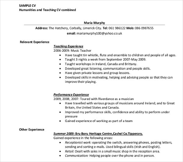 humanities and teaching cv template