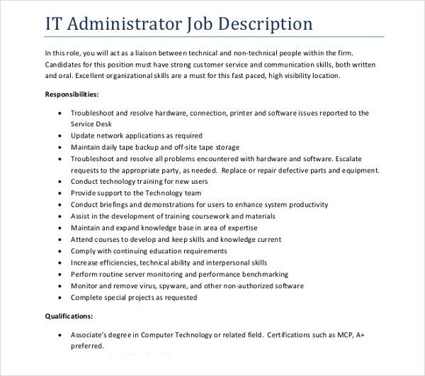 it administrator job description