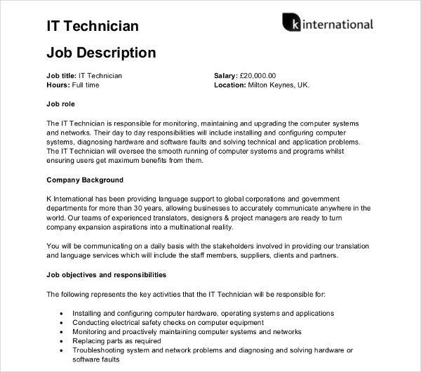 it computer techinician job description