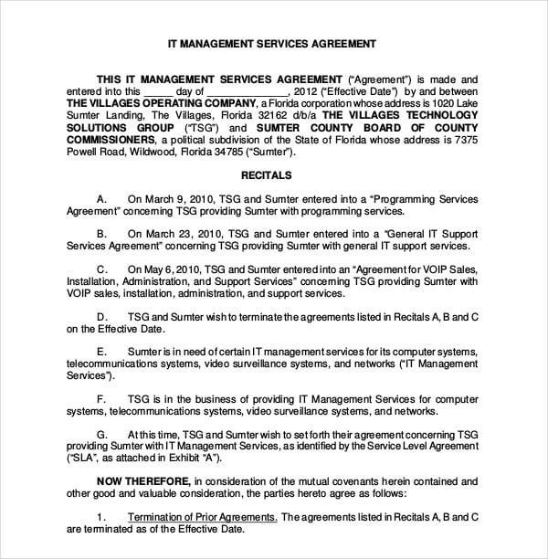 it management services agreement