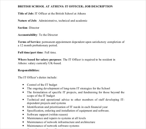 it revised officer job description template
