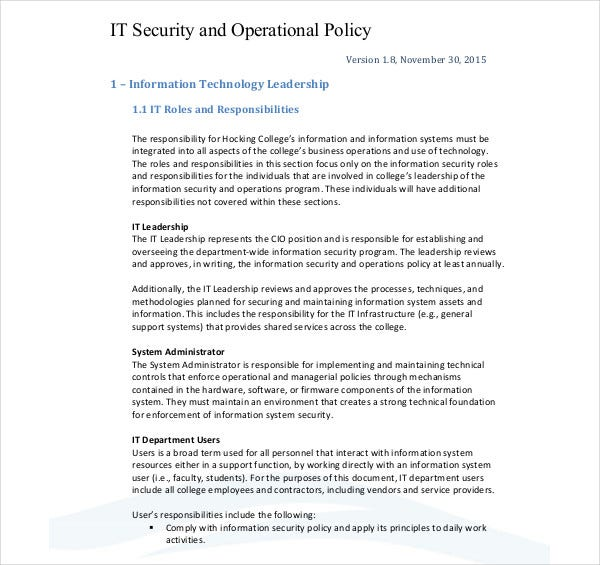 IT Security Operational Plan