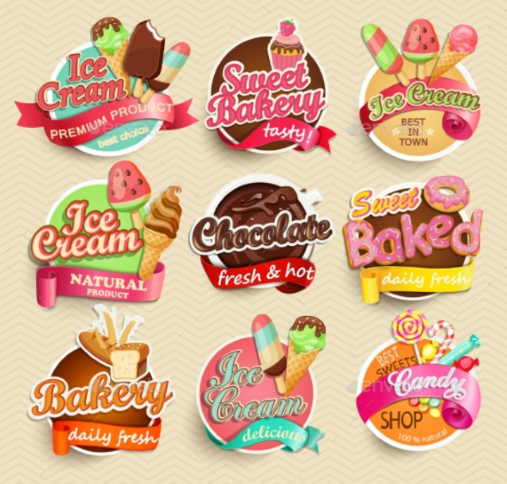 ice-cream-restaurant-food-label-and-sticker-template-pack