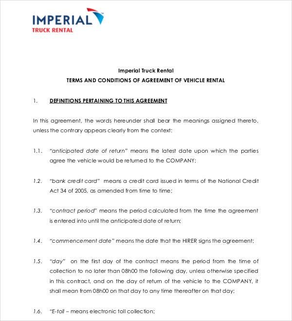 imperial truck rental agreement