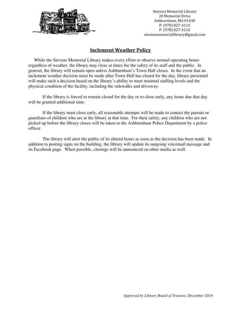 inclement weather policy template 13 inclement weather policy templates free premium