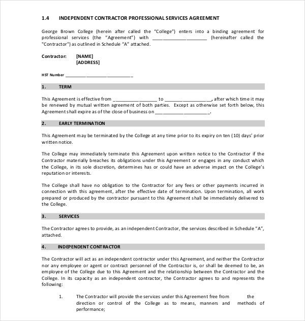 independent contractor professional services agreement