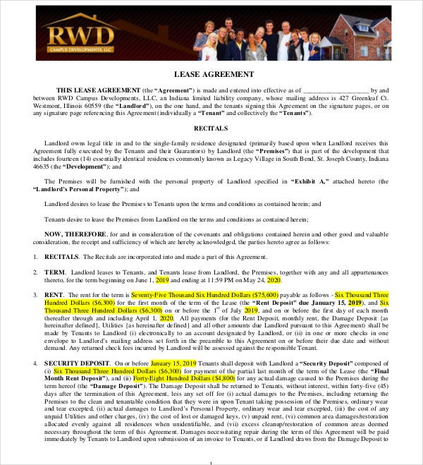 indiana residential lease agreement