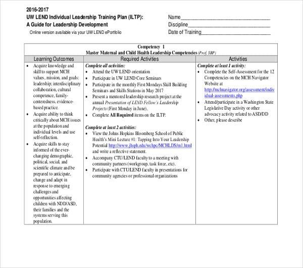 individual leadership training plan