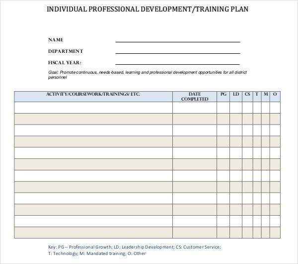 individual professional development training plan
