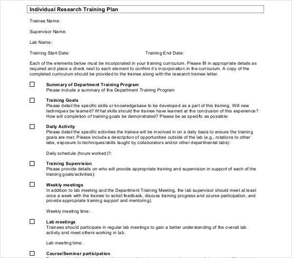 individual research training plan