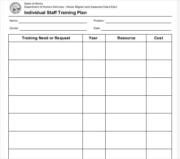 individual staff training plan