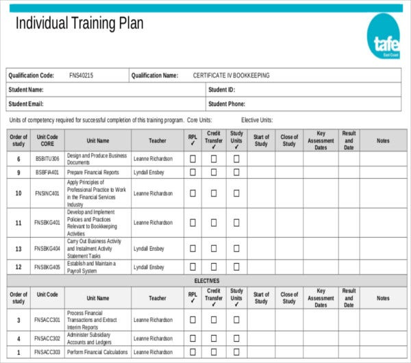individual training plan example