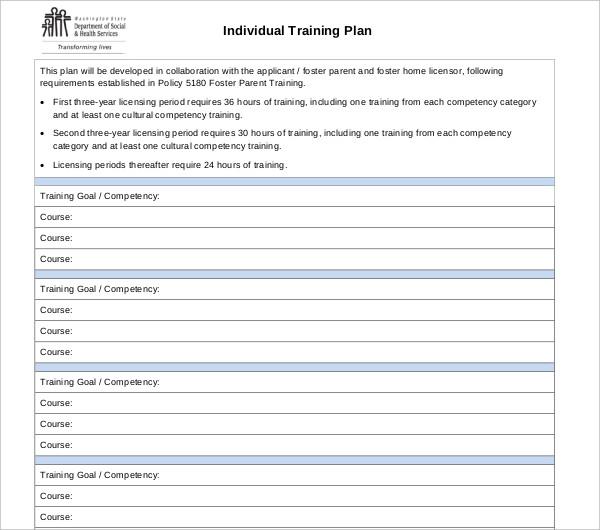 individual training plan printable