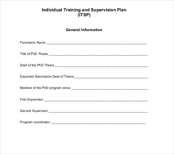 individual training and supervision plan