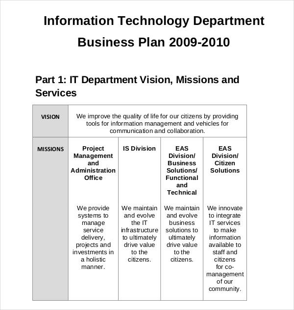 information technology department business plan