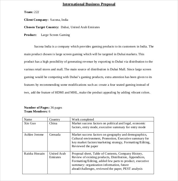 international business proposal