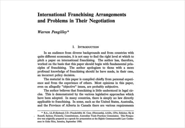 international franchising arrangements