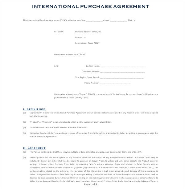 international product purchase agreement