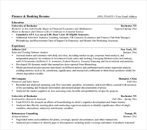 Investment Banking Resume Sample  Sample Banking Resume