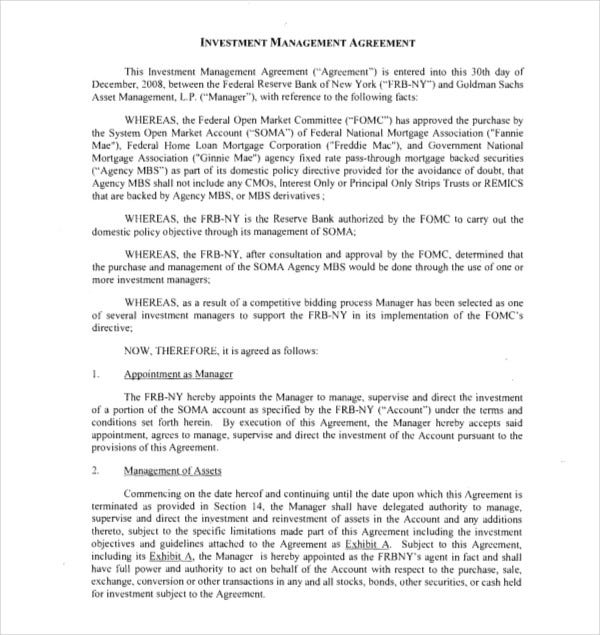 investment management agreement