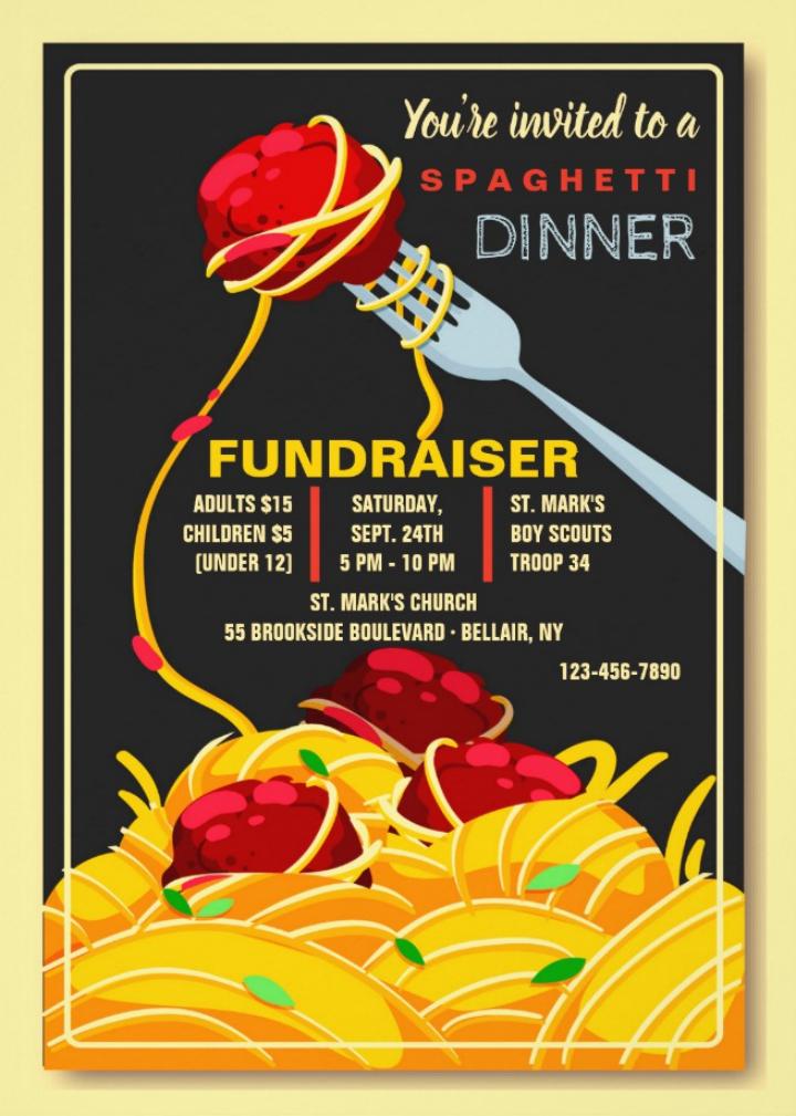 italian restaurant fundraiser invitation card template