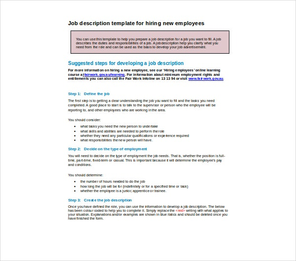 job description template for hiring new employees