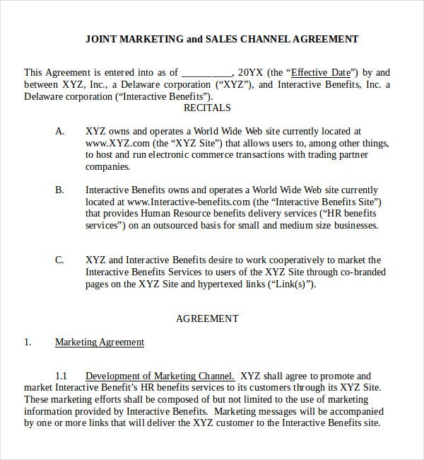 joint marketing sales channel agreement in word
