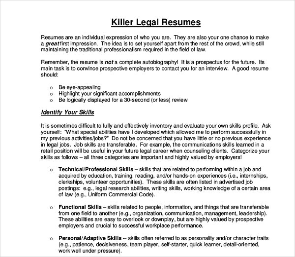 killer legal resume