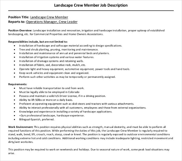 landscape crew member job description
